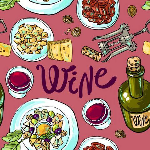 手绘红酒面包海报图片