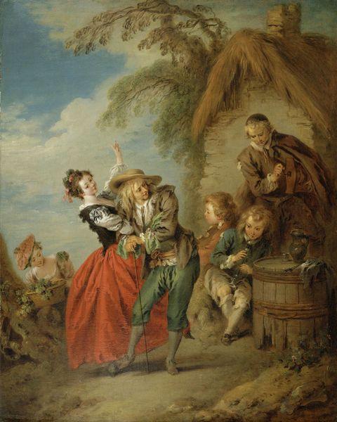 一群跳舞贵族男女油画图片