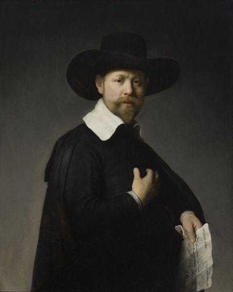 戴帽子贵族男人油画图片