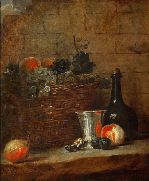瓶子和竹篮内的水果图片