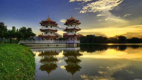 中式塔建筑风景壁纸