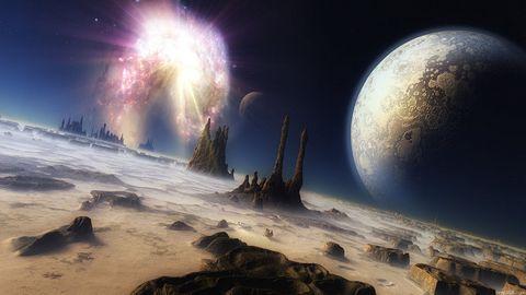 外太空山峰风景壁纸