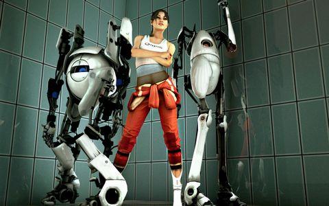 机器人与美女壁纸