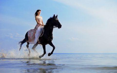 骑马的美女壁纸