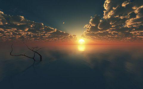 湖面日落风景壁纸