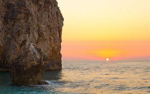 海岸夕阳风景壁纸