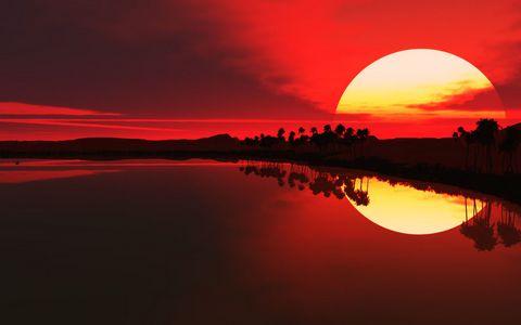 夕阳湖泊风景壁纸