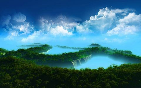 树林瀑布风景壁纸
