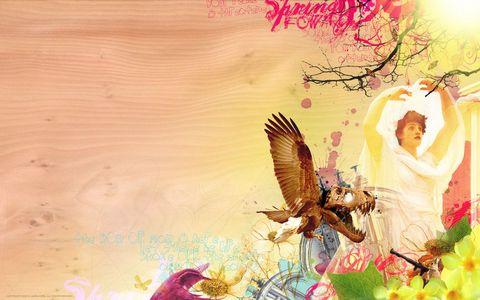 雄鹰与美女壁纸