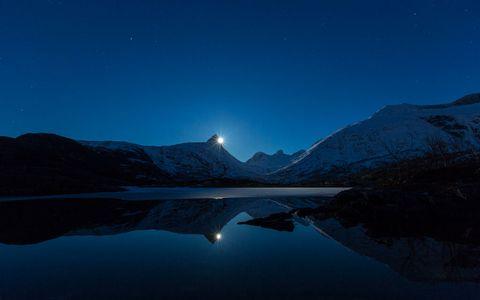 湖泊夜空风景壁纸