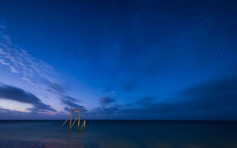 夜空大海美景壁纸