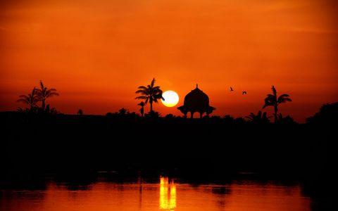 凉亭夕阳风景壁纸