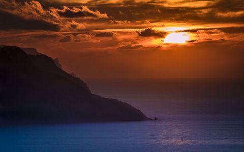 美丽海面夕阳风景