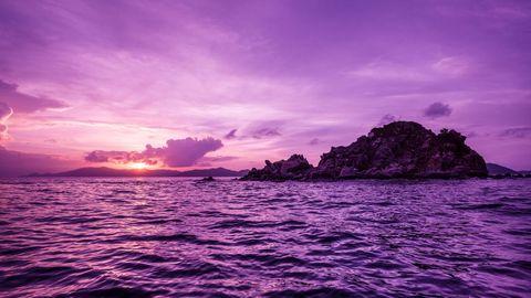 紫色天空大海风景