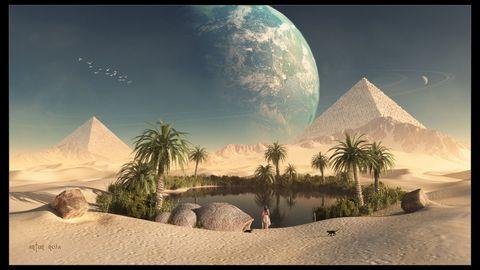 金字塔湖泊风景
