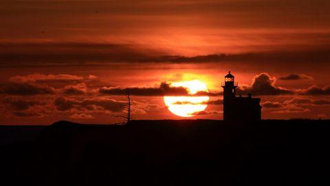 灯塔夕阳风景