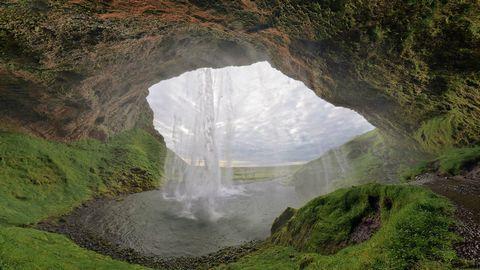 旅游景区山峰与瀑布