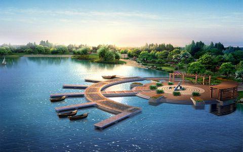 旅游景区建筑与河流