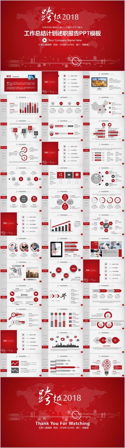 跨越2018工作总结计划述职报告PPT模板图片
