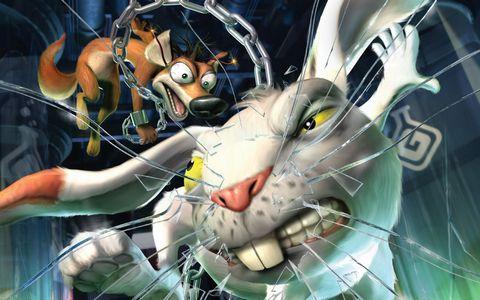 卡通动物与玻璃背景